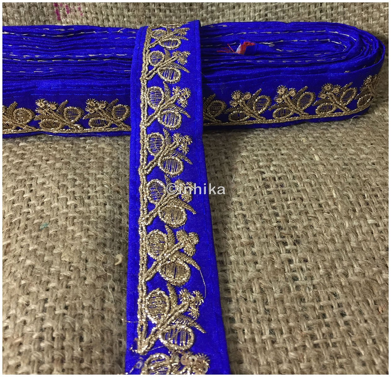 lace trim fabric garment accessories suppliers in mumbai Royal-Blue-Embroidery-Sequins-2-Inch-Wide-3280