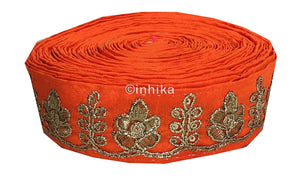 lace trim fabric sewing trims and embellishments for clothing Orange, Embroidery, 2 Inch Wide material Cotton Mix, Dupion