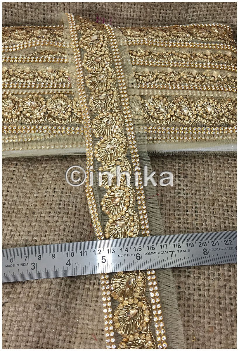 lace trim fabric saree border cheap lace fabric india  Beige-Zari-2-Inch-Wide-3235