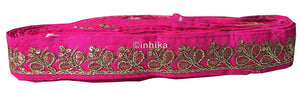 lace trim fabric saree border cheap lace fabric india Rani-Pink-Embroidery-Sequins-2-Inch-Wide-3285