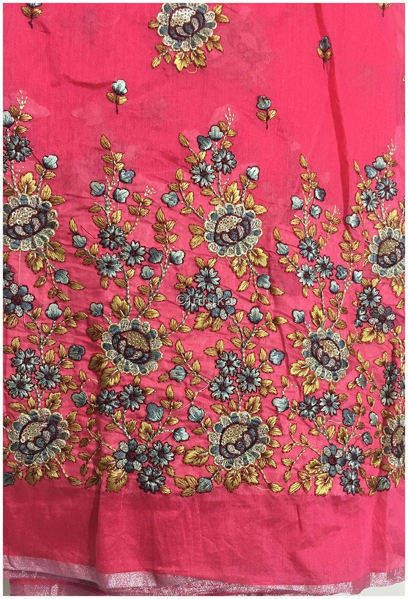 Kurti Material Blouse Fabric by meter pink peach chanderi grey yellow  embroidery