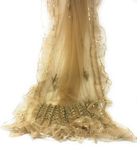 Load image into Gallery viewer, golden colour net dupatta narrow, stole, real mirror work