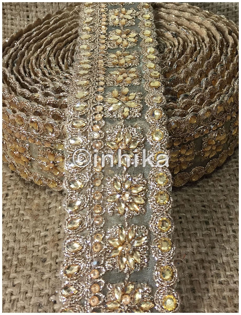 lace trim fabric saree border cheap lace fabric india Beige-Embroidery-Sequins-2-Inch-Wide-3248