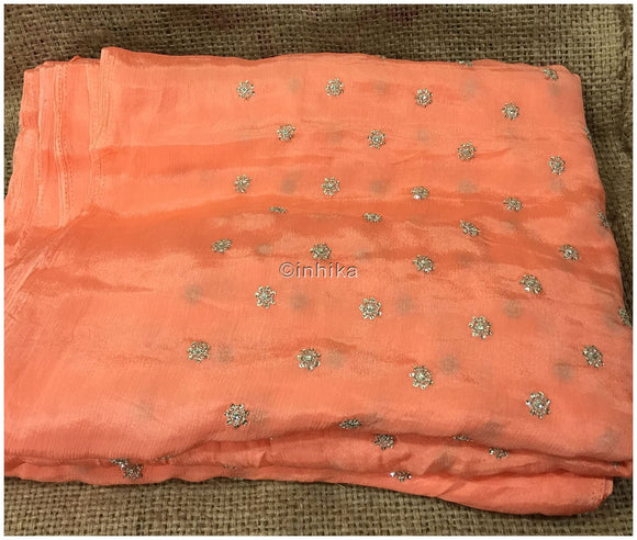 running dress material online running material online shopping india Embroidery Crepe Peach, Silver Sequins 39 inches Wide 9180