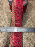lace trim fabric decorative fabric trim ribbon for clothing Maroon-Zari-3-Inch-Wide-3250