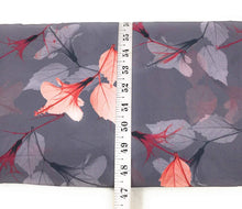 Load image into Gallery viewer, Grey Floral Pattern Digital Print Georgette Fabric