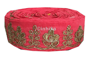 lace trim fabric trims and accessories used in garment industry Peach, Embroidery, 2 Inch Wide material Cotton Mix, Dupion