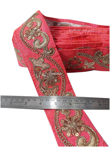 lace trim fabric decorative fabric trim ribbon for clothing Peach, Embroidery, Sequins, 3 Inch Wide material Cotton Mix