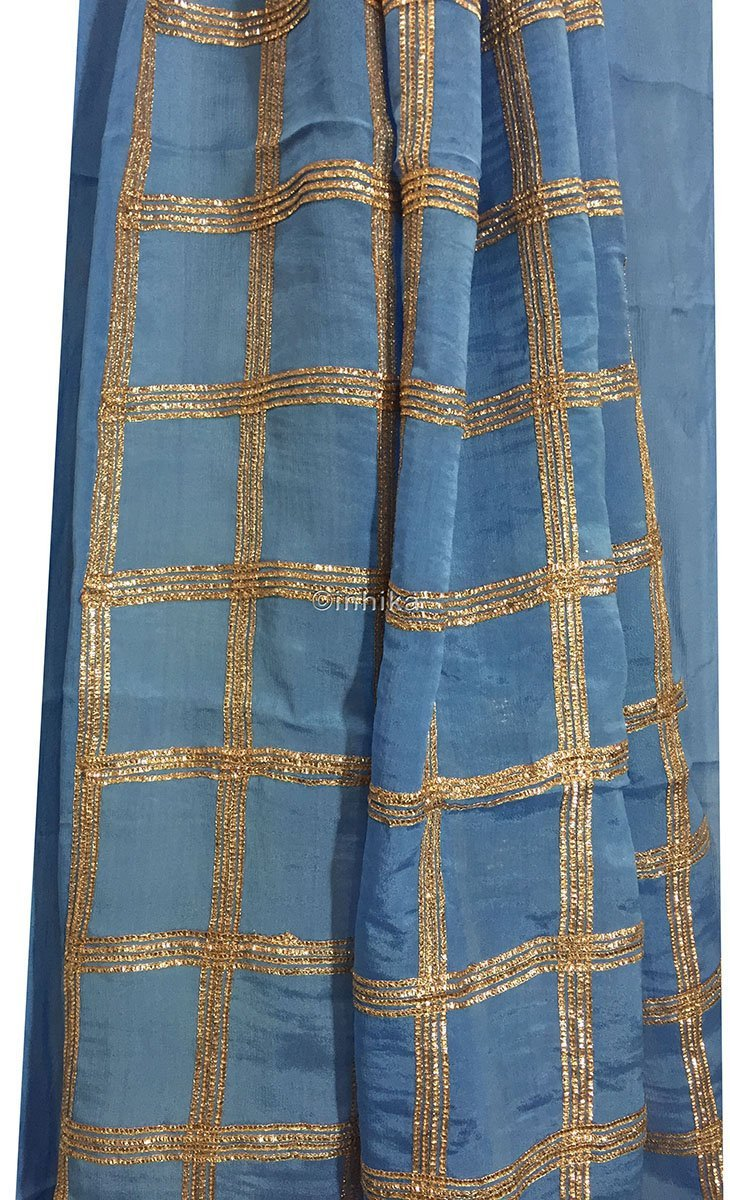 kurti fabric online india designer fabric india Embroidery Chiffon Cobalt Blue, Copper 43 inches Wide 9190