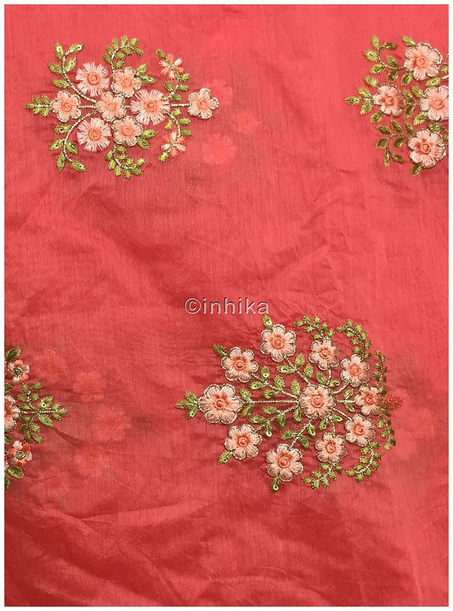 embroidery lace buy online buy material online india Embroidery Chanderi Silk Peach Pink, Green 43 inches Wide 9096