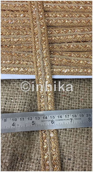 lace trim fabric bridal applique trim beaded lace Gold-Zari-With--Stone-1-Inch-Wide
