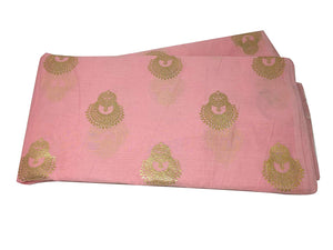 baby pink fabric gold print indian fabric