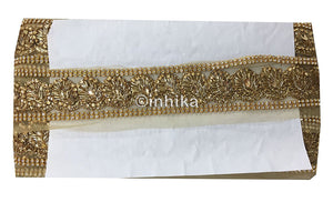 lace trim fabric bridal wedding lace trim by the yard wholesale suppliers Beige-Zari-2-Inch-Wide-3235