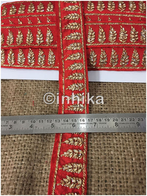 lace trim fabric trims in fashion Red-Embroidered-Stone-2-Inch-Wide-3209