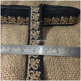 lace trim fabric bridal applique trim beaded lace  Black-Embroidery-Sequins-2-Inch-Wide-3284