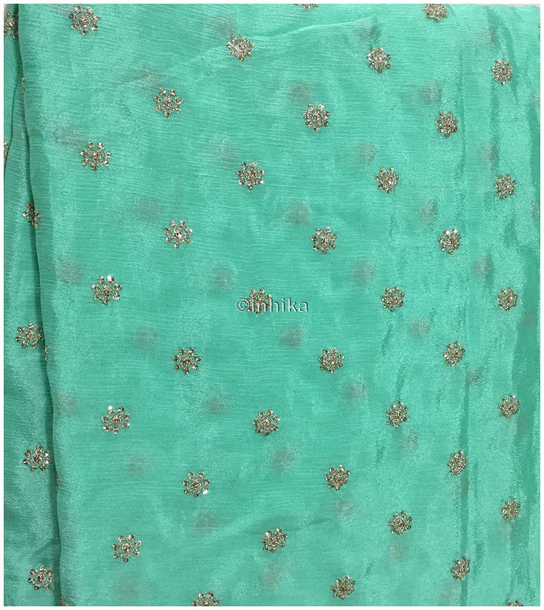 saree fabric online shopping white cloth material online india Embroidery Crepe Sea Green, Silver Sequins 39 inches Wide 9178