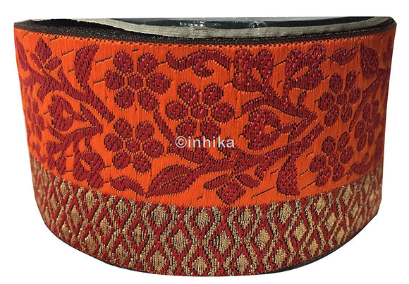 lace trim fabric beaded bridal braid trim by the yard Red-Orange-Zari-3-Inch-Wide-3231