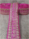 lace trim fabric bridal applique trim beaded lace  Rani-Pink-Embroidery-3-Inch-Wide-3290
