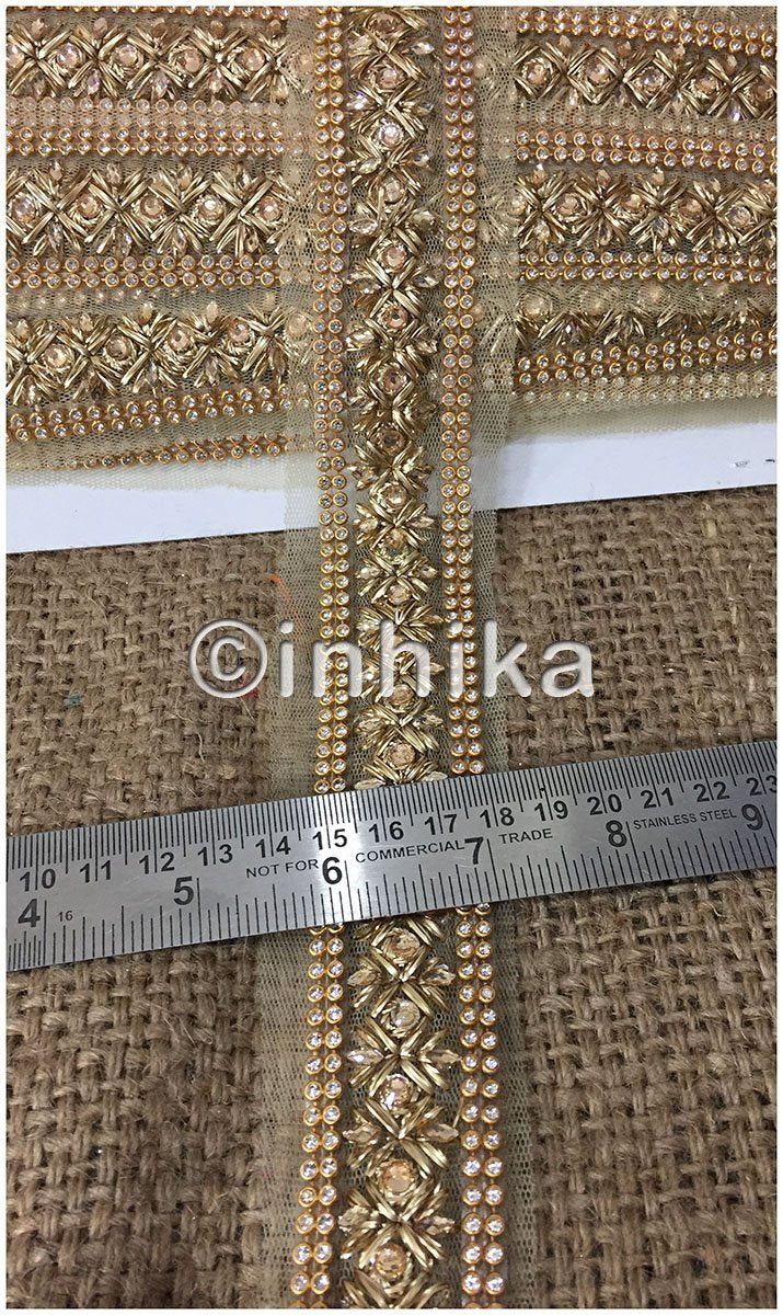 lace trim fabric lace material for dressmaking by the yard Beige-Zari-2-Inch-Wide-3237