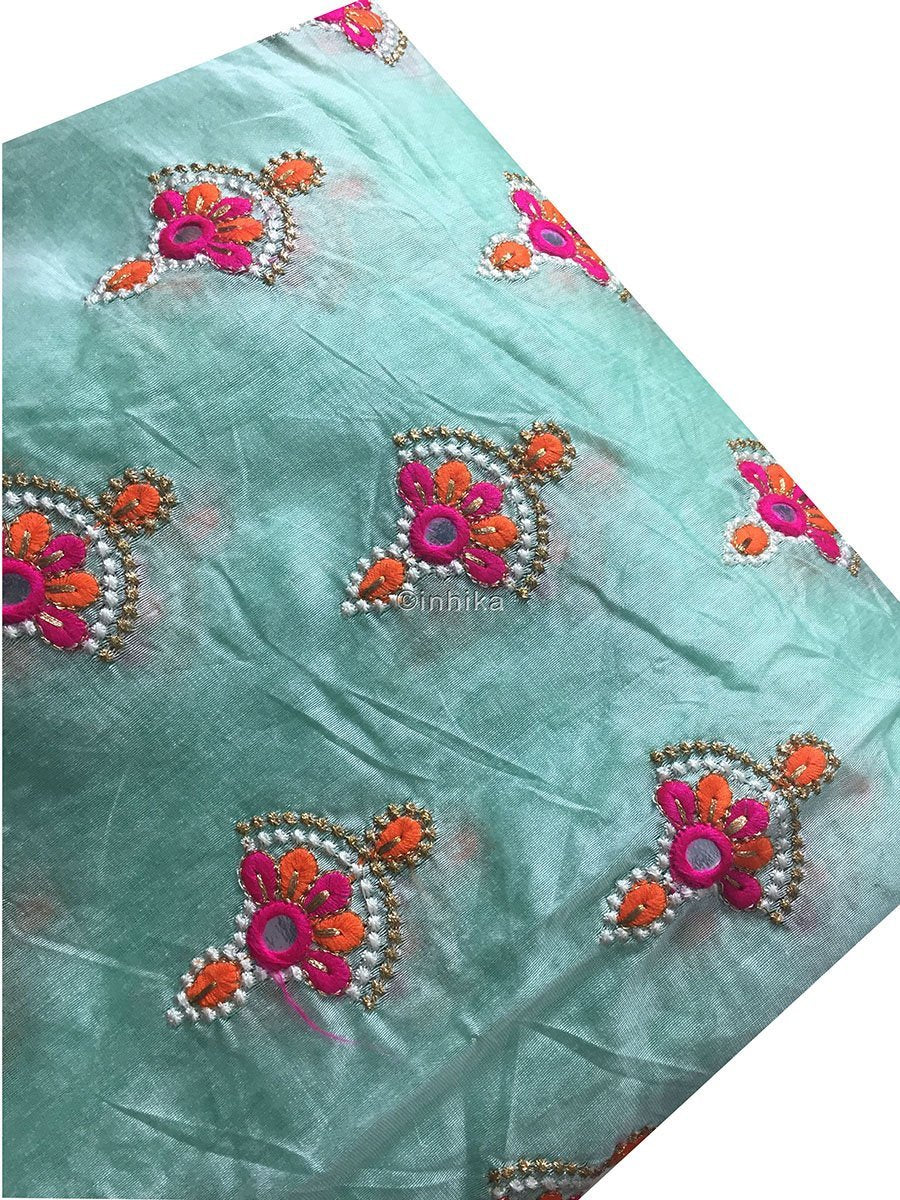 embroidery fabric indian beaded fabric buy online Embroidery Cotton Chanderi Light Sea Green, Orange, Pink, White, Gold 42 inches Wide 9182