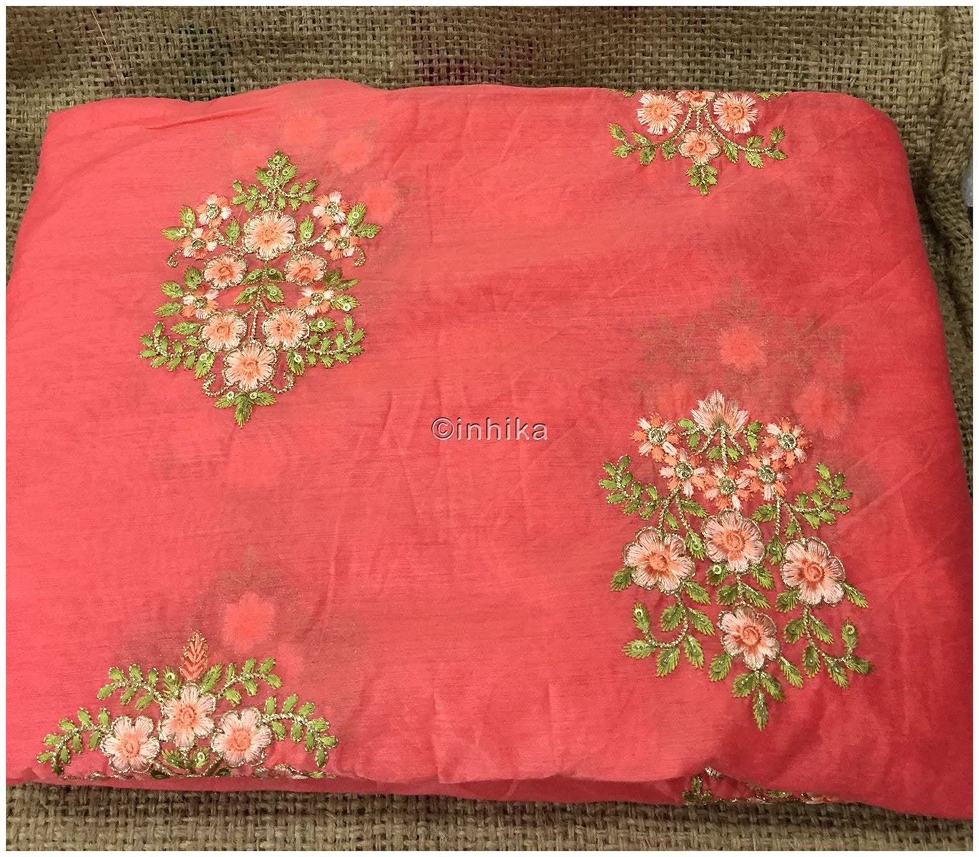 plain fabric online buy material online india Embroidery Chanderi Silk Peach Pink, Green 43 inches Wide 9096