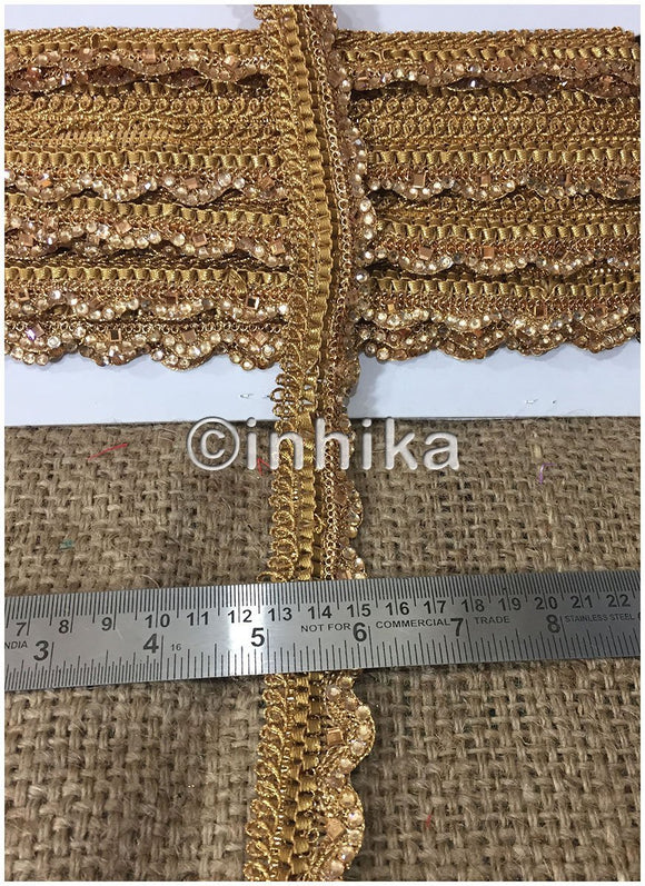 9 Meter (Yard) Roll of Lace Gold Friinge Waves Stone and Pearl option