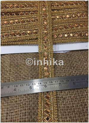 lace trim fabric where to buy fringe for clothing Gold-Embroidered-Gold-Mirror-2-Inch-Wide-3197