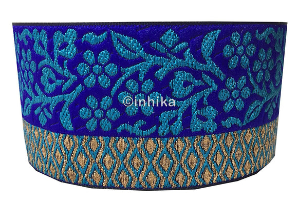 lace trim fabric saree border cheap lace fabric india Royal-Blue-Zari-3-Inch-Wide-3229