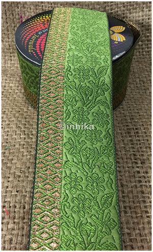 lace trim fabric lace applique trim wedding dress dance costumes and dresses Green-Zari-3-Inch-Wide-3227