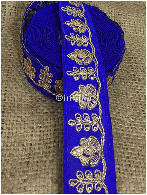 lace trim fabric where to buy lace appliques Royal Blue, Embroidery, 2 Inch Wide material Cotton Mix, Dupion