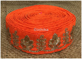 lace trim fabric garment trims and accessories wholesale suppliers Orange, Embroidery, 2 Inch Wide material Cotton Mix, Dupion