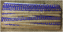 Load image into Gallery viewer, lace trim fabric designer jacquard fabric ribbon trim Blue, Embroidery, Stone, 1 Inch Wide material Cotton Mix