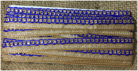Image of lace trim fabric designer jacquard fabric ribbon trim Blue, Embroidery, Stone, 1 Inch Wide material Cotton Mix