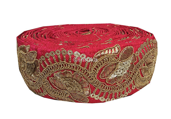 lace trim fabric trims and accessories used in garment industry Pink, Embroidery, Sequins, 3 Inch Wide material Cotton Mix