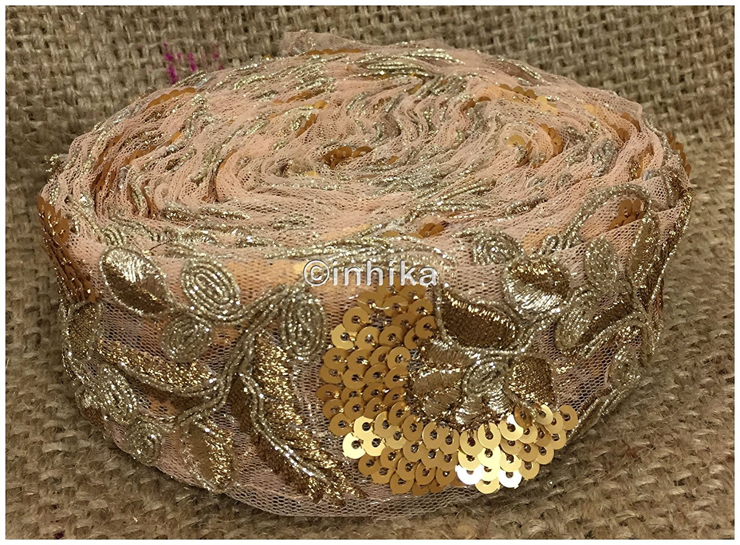 lace trim fabric garment trims and accessories wholesale suppliers Light Peach, Embroidery, Sequins, 2 Inch Wide material Net, Mesh, Tulle