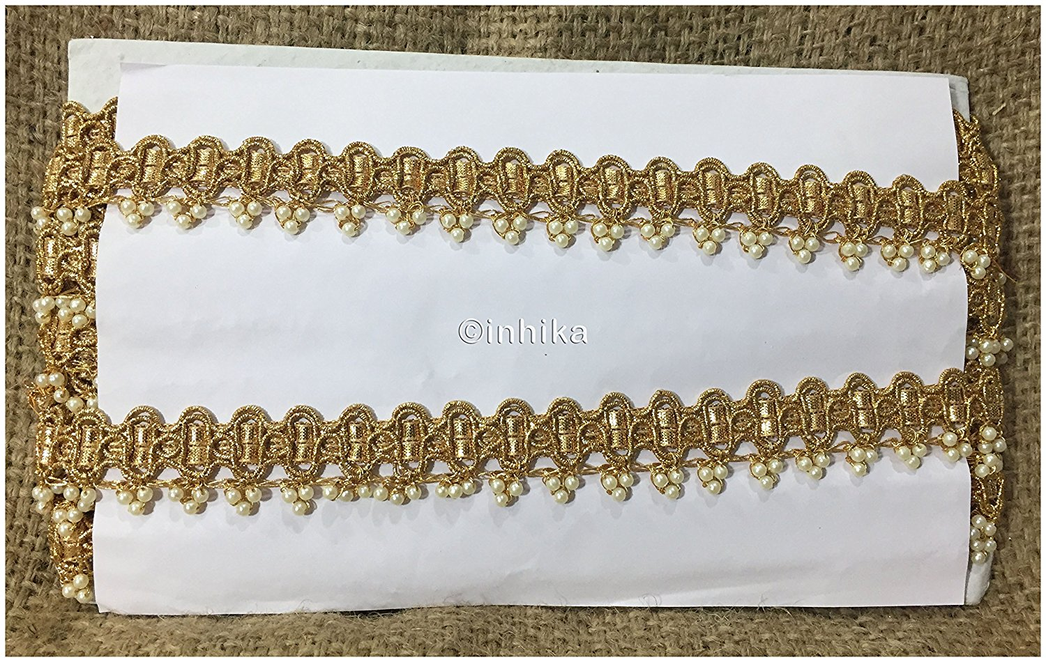 lace trim fabric decorative fabric trim ribbon for clothing Gold, Embroidery, Pearl, 1 Inch Wide material Cotton Mix