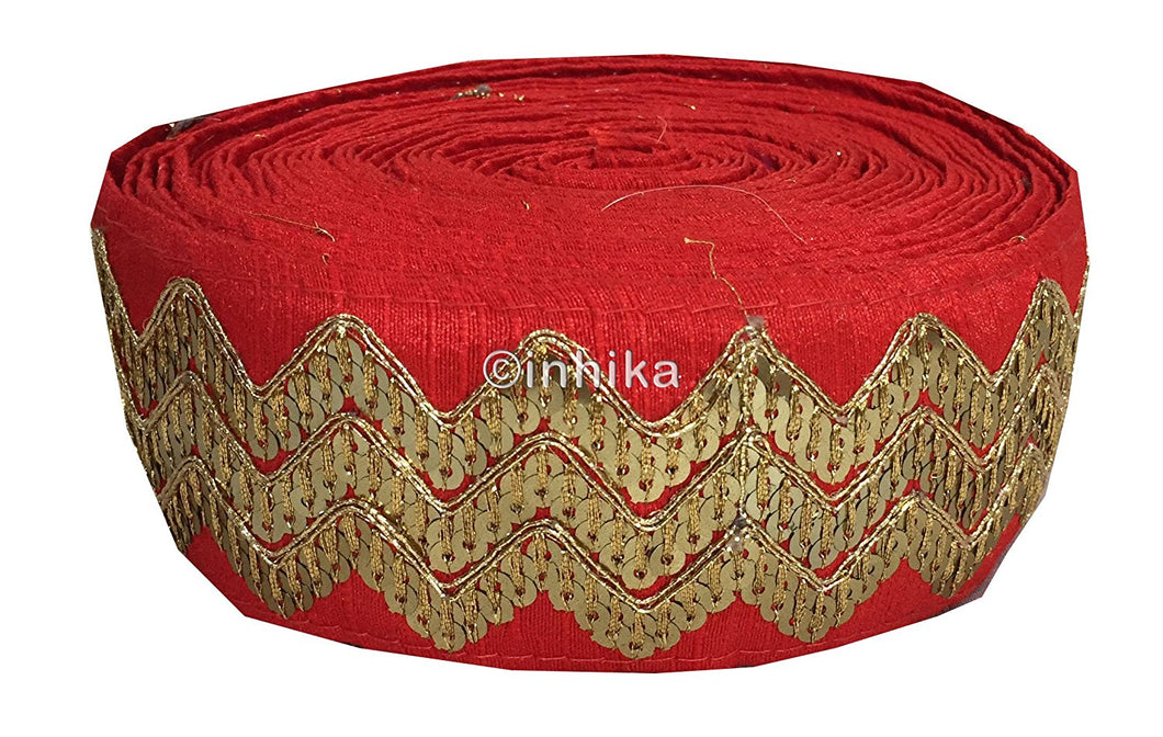 lace trim fabric bridal lace fabric uk wholesale india Red, Embroidery, Sequins, 3 Inch Wide material Cotton Mix, Dupion