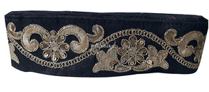 lace trim fabric bridal applique trim beaded lace  Black, Embroidery, Sequins, 3 Inch Wide material Cotton Mix