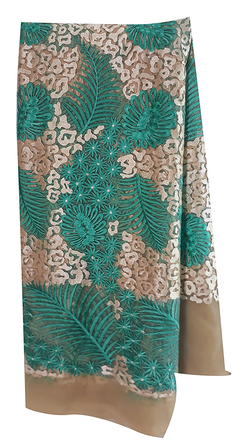 cloth material online india blouse material online shopping Embroidered Net Beige, Light Beige, Sea Green 55 inches Wide 1636