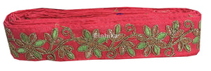lace trim fabric decorative fabric trim ribbon for clothing Pink-Flower-Embroidered-2-Inch-Wide-3216