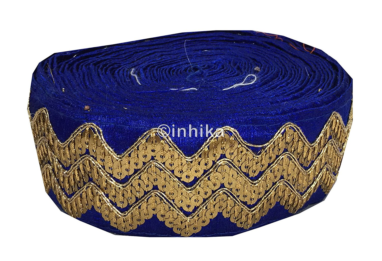 lace trim fabric designer jacquard fabric ribbon trim Royal Blue, Embroidery, Sequins, 3 Inch Wide material Cotton Mix, Dupion