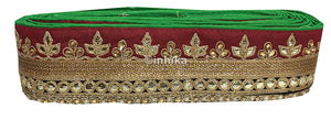 lace trim fabric bridal lace fabric uk wholesale india Green-Maroon-Embroidery-Gota-Patti-3-Inch-Wide-3303