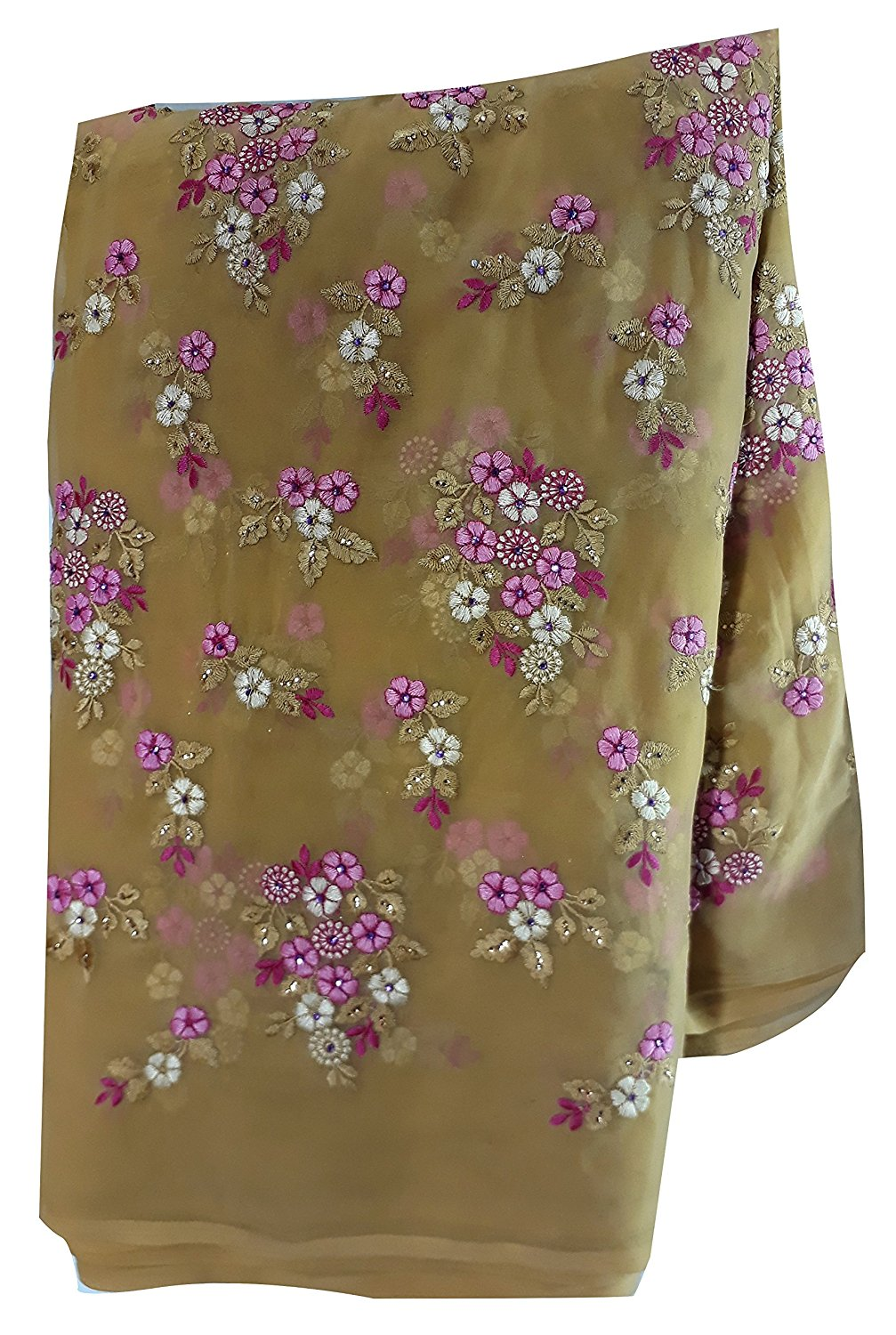 embroidery material suppliers blouse material online Embroidered Georgette Beige, Pink, White 44 inches Wide 1628