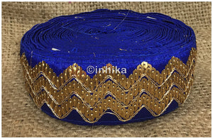 lace trim fabric online saree lace border patterns design with price Royal Blue, Embroidery, Sequins, 3 Inch Wide material Cotton Mix, Dupion