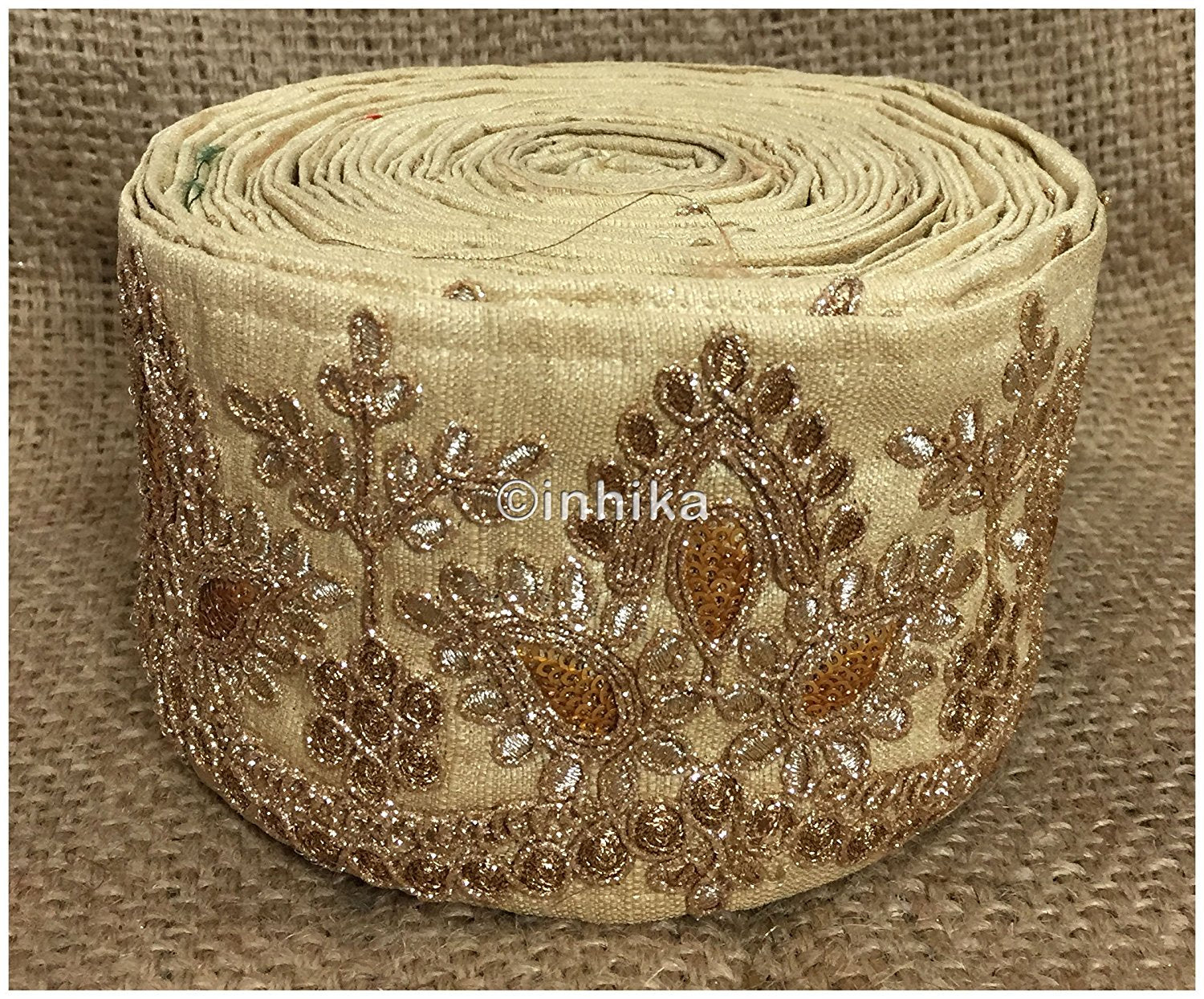lace trim fabric embroidered lace fabric for wedding dresses india online Beige, Embroidery, Sequins, 4 Inch Wide material Cotton Mix