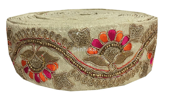 lace trim fabric saree border cheap lace fabric india  Beige, Embroidery, Beads, 2 Inch Wide material Cotton Mix