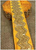 lace trim fabric where to buy fringe for clothing Yellow, Embroidery, Sequins, 3 Inch Wide material Cotton Mix, Dupion