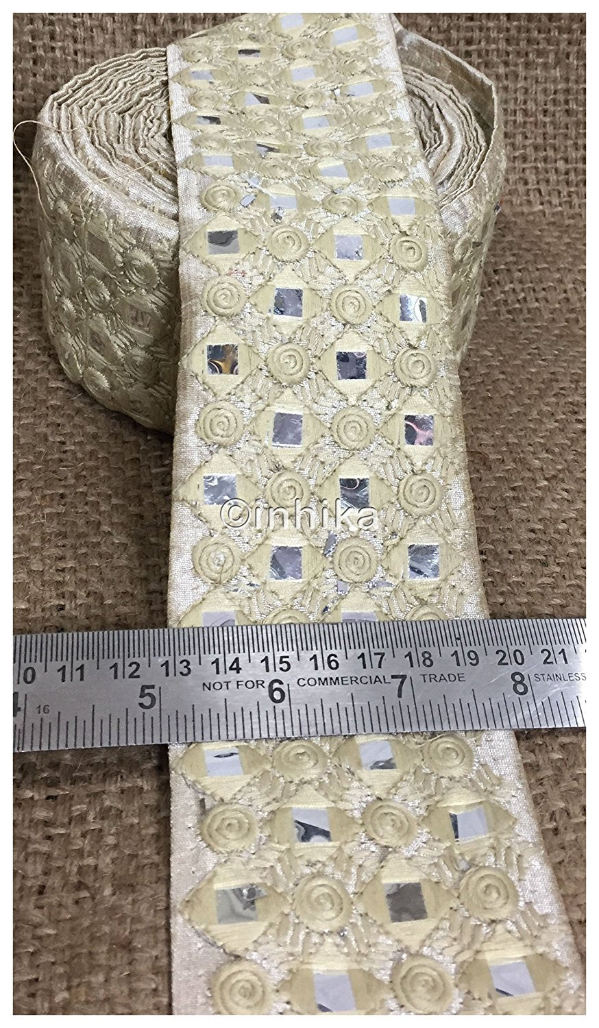 lace trim fabric trims and accessories used in garment industry Cream, Embroidery, Faux Mirror, 3 Inch Wide material Cotton Mix