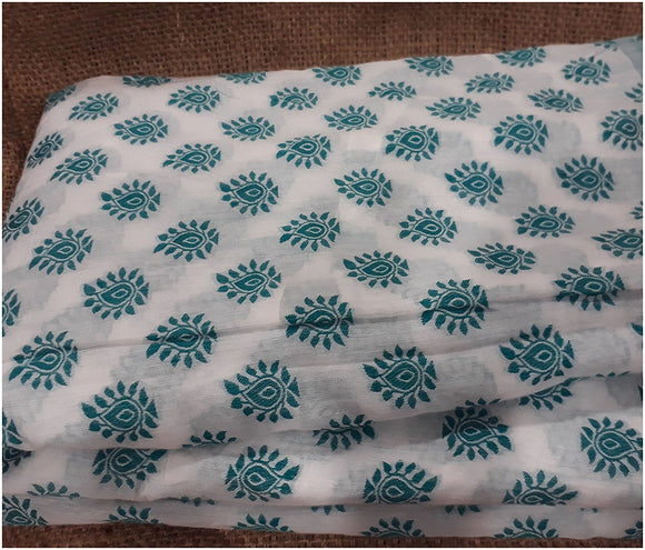 buy cloth material online white embroidered material Cotton Torquoise Green, White 49 inches Wide 1791