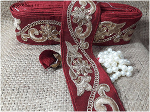 lace trim fabric beaded bridal braid trim by the yard Maroon, Embroidery, Sequins, 3 Inch Wide material Cotton Mix
